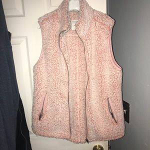 Thread and supply pink blush Sherpa vest
